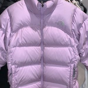 North Face lilac puffer coat